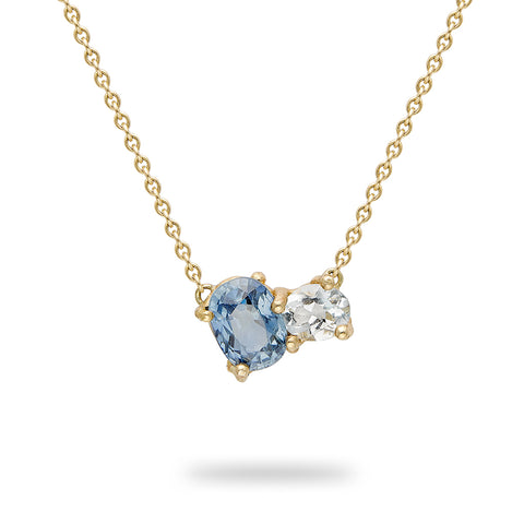 Sapphire and Aquamarine Encrusted Necklace From Ruth Tomlinson, handmade in London