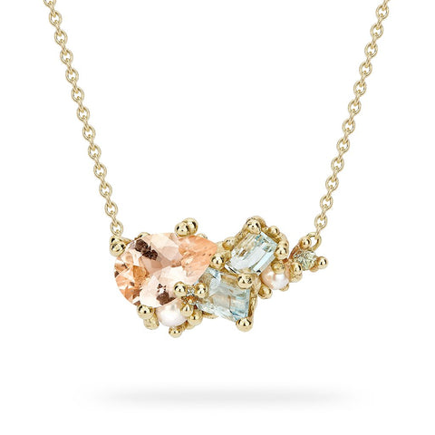 Morganite and Aquamarine Encrusted Bar Necklace from Ruth Tomlinson, handmade in London