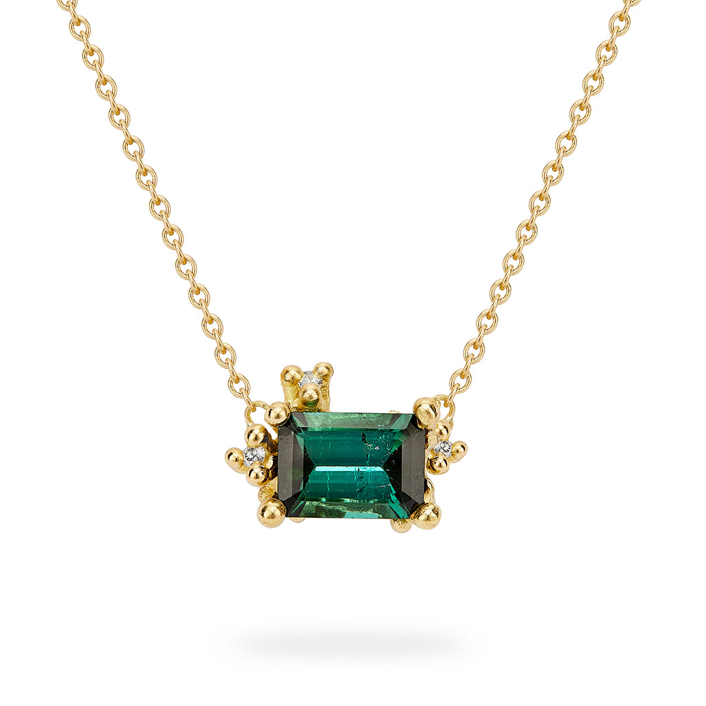 Emerald Cut Tourmaline Necklace From Ruth Tomlinson, handmade in London