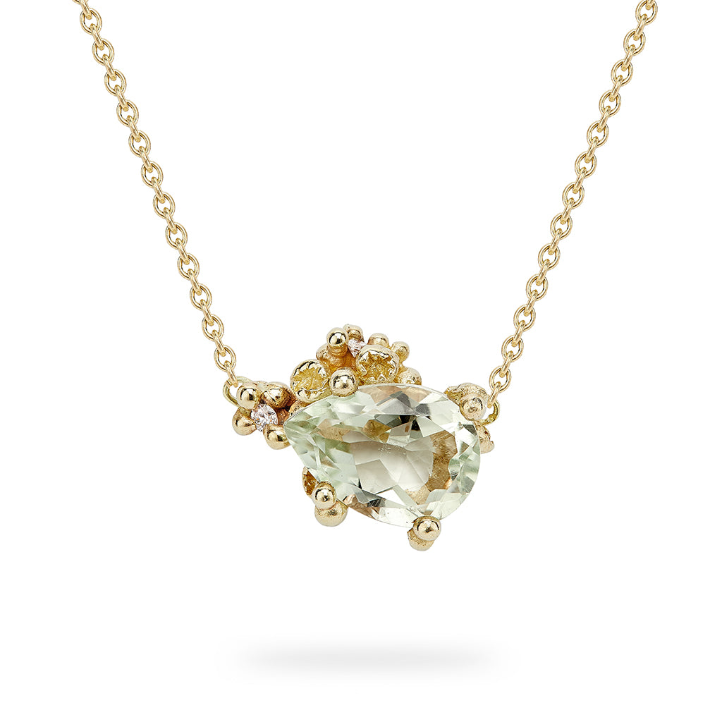 Green Amethyst Pendant with Diamonds and Barnacles by Ruth Tomlinson, handmade in London