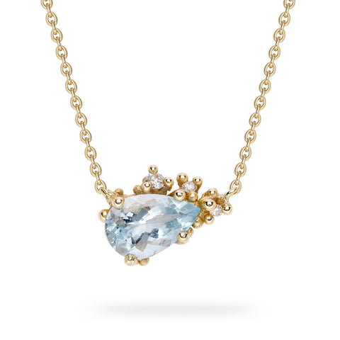 Aquamarine and diamond necklace from Ruth Tomlinson, handmade in London