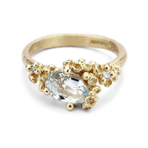 Asymmetric aquamarine ring with diamonds and barnacles, from Ruth Tomlinson