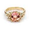 Pink tourmaline and diamond ring from Ruth Tomlinson, handmade in London