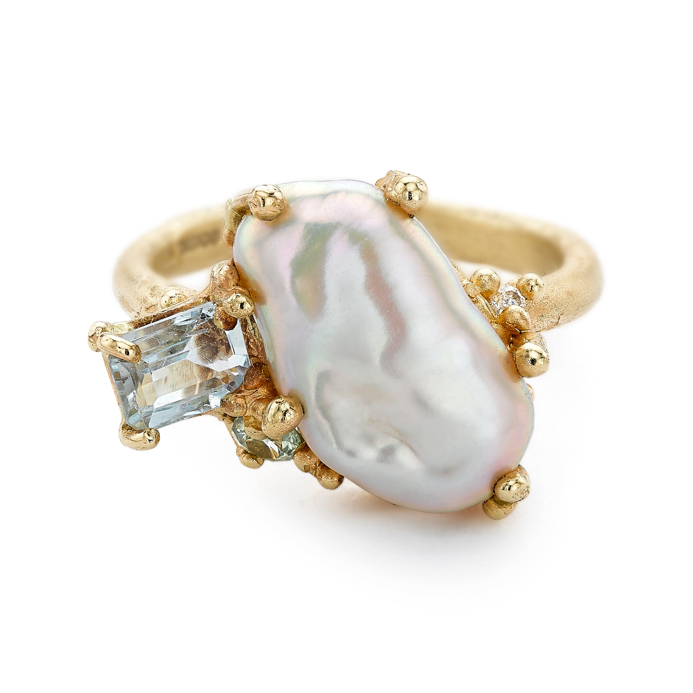 Baroque Pearl Ring with Aquamarine and Sapphire by Ruth Tomlinson, handmade in London