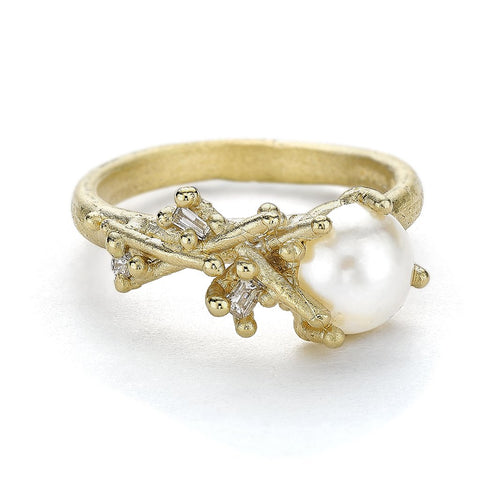 Asymmetric Pearl and Diamond Ring From Ruth Tomlinson Handcrafted in London