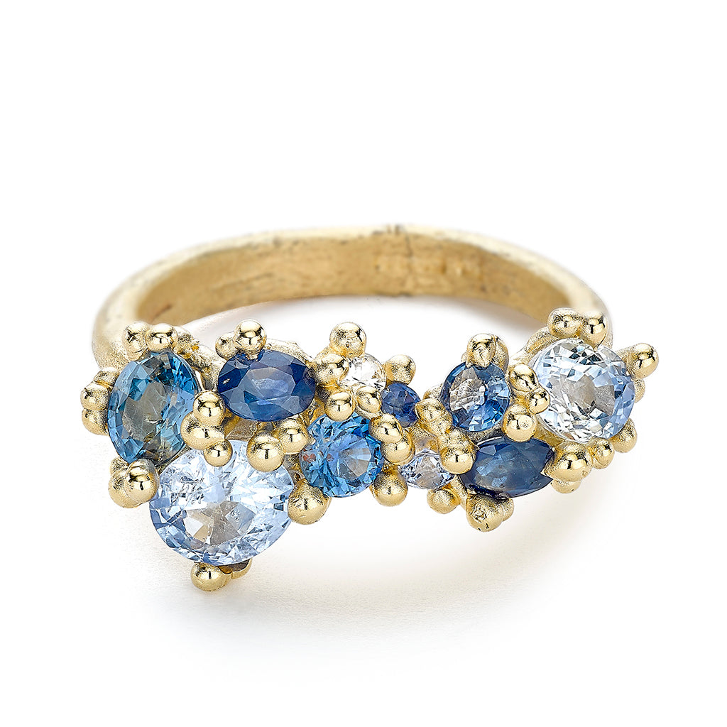 Sapphire cluster engagement ring or cocktail ring from Ruth Tomlinson, Handmade in London