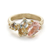 Morganite and Green Amethyst Asymmetric Ring From Ruth Tomlinson Handmade in London