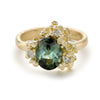 Green Tourmaline Ring with Diamond and Barnacles from Ruth Tomlinson Handmade in London