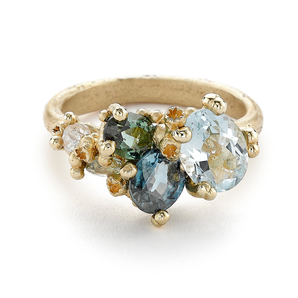 Asymmetric Aquamarine and Tourmaline Ring with Barnacles by Ruth Tomlinson, Handmade in London