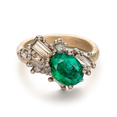 Emerald and diamond cluster ring from Gemfields and Ruth Tomlinson collaboration