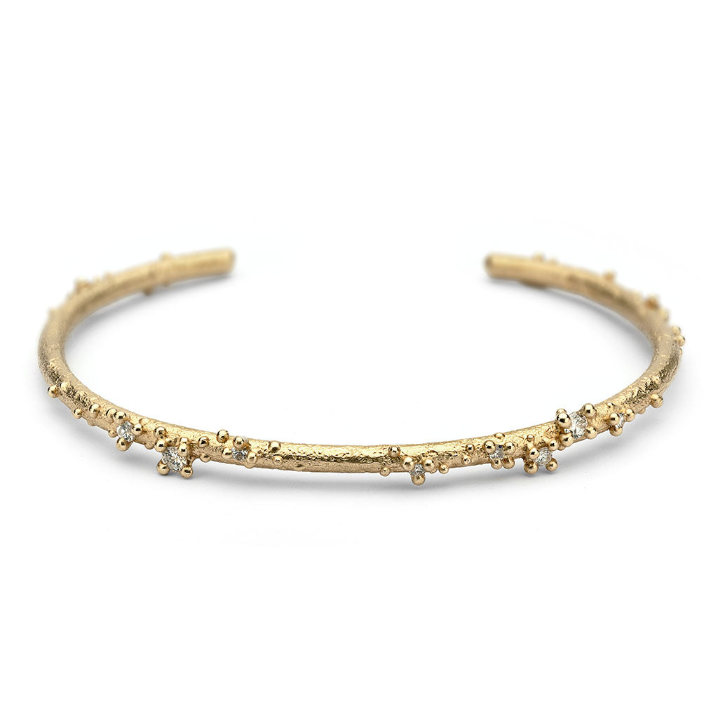 Yellow gold and diamond cuff bracelet from Ruth Tomlinson