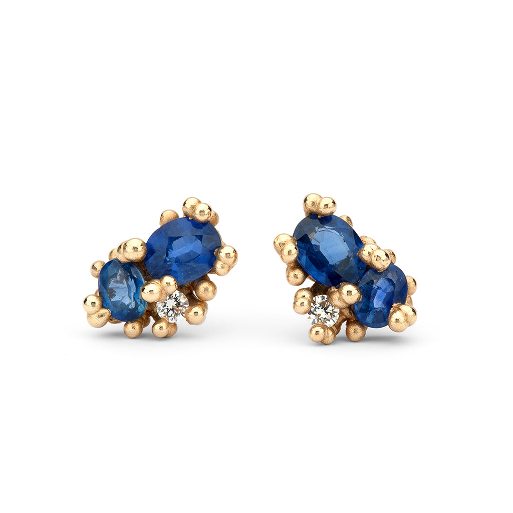 Sapphire and diamond stud earrings by Ruth Tomlinson, handmade in London
