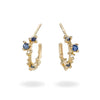 Yellow gold and sapphire hoop earrings from Ruth Tomlinson, handmade in London