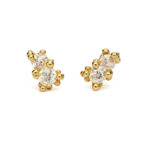 Double Diamond Stud earrings by Ruth Tomlinson, handmade in London
