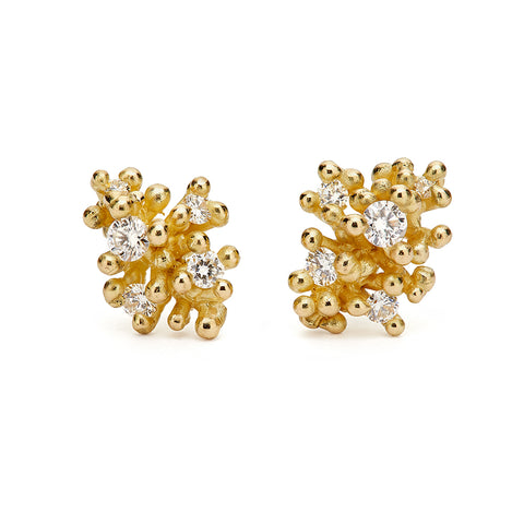 Diamond Cluster Studs with Granules from Ruth Tomlinson, handmade in London