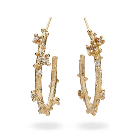 Champagne Diamond Encrusted Hoops from Ruth Tomlinson, handmade in London