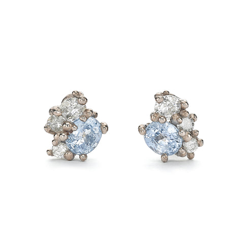 Statement sapphire and white diamond stud earrings from Ruth Tomlinson, handmade in London