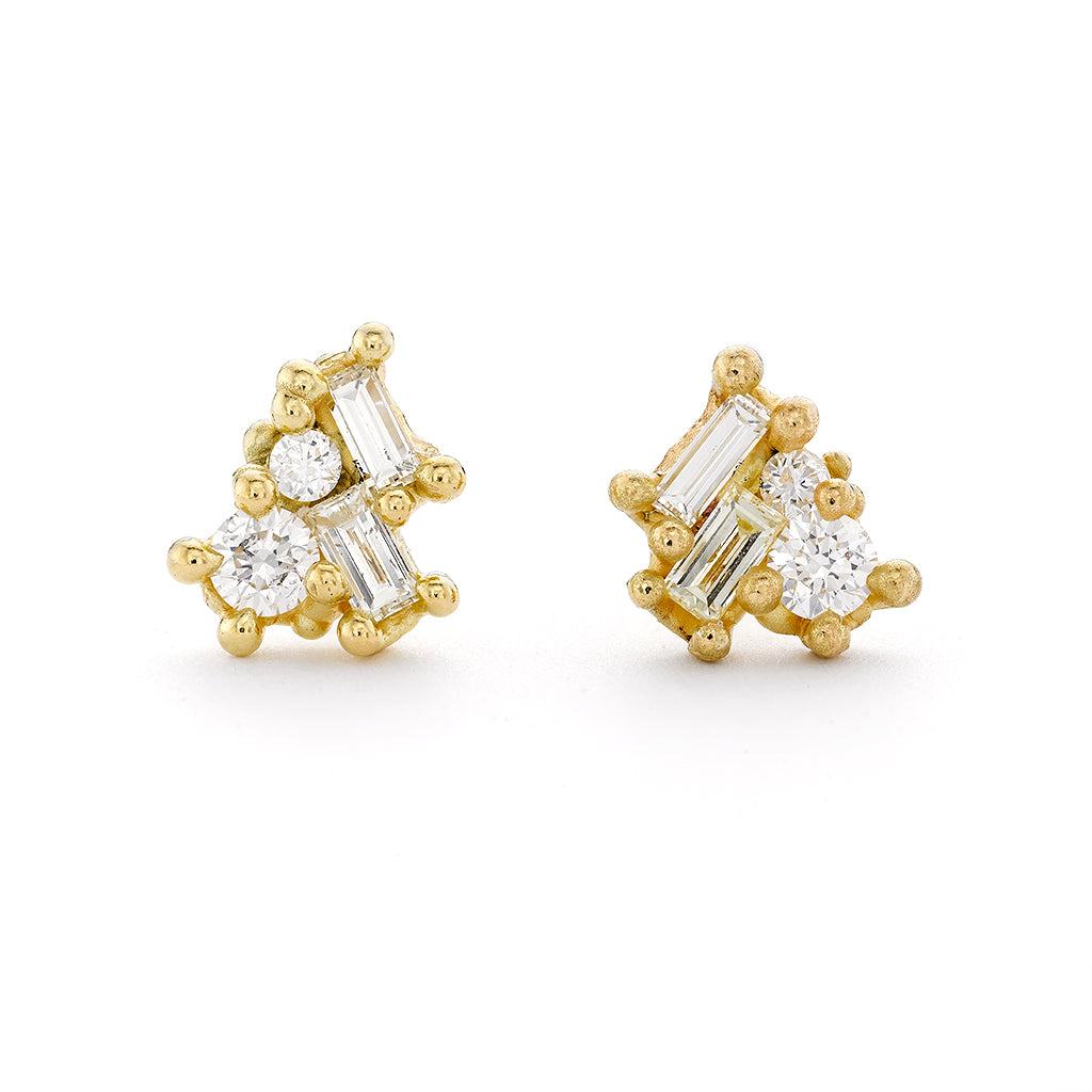 Mixed cut white and yellow diamond stud earrings from Ruth Tomlinson, handmade in London