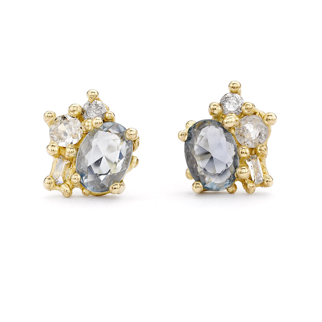 Rose Cut Sapphire and Diamond Sweeping Cluster Studs by Ruth Tomlinson, Handmade in London