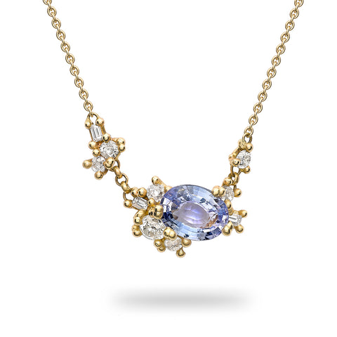 Sapphire and diamond cluster necklace from Ruth Tomlinson, handmade in London