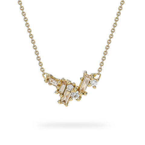 Champagne and white diamond cluster bar necklace from Ruth Tomlinson, handmade in London