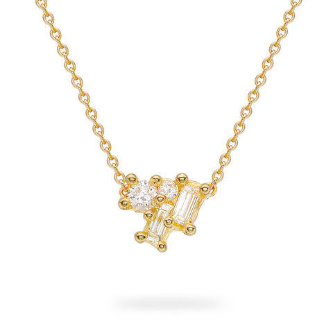 Contrasting Cut White Diamond Necklace from Ruth Tomlinson, handmade in London