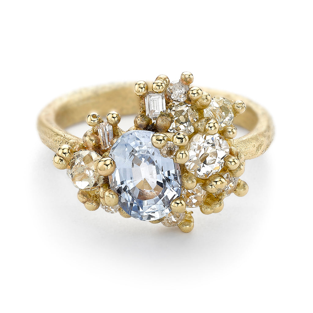 Sapphire and diamond statement cocktail ring from Ruth Tomlinson, handmade in London