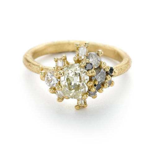 Unique diamond cluster engagement ring from Ruth Tomlinson, handmade in London