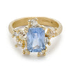 Sapphire and diamond asymmetric cluster ring from Ruth Tomlinson, handmade in London