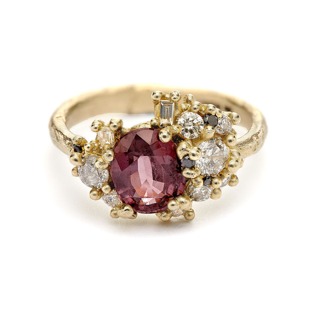 Pink Sapphire Sweeping Cluster Ring from Ruth Tomlinson, handmade in London