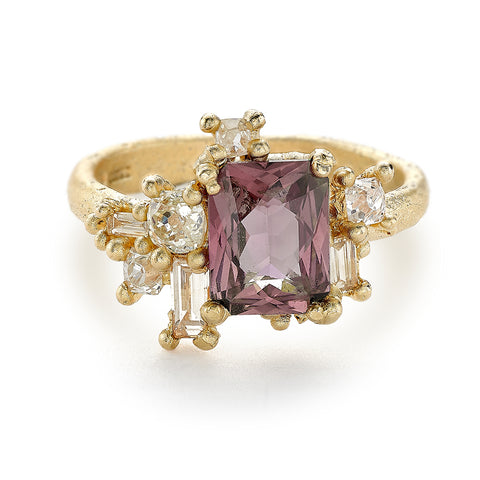 Pink Sapphire and Diamond Sweeping Cluster Ring from Ruth Tomlinson, handmade in London