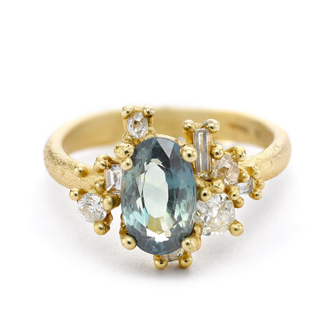 Sapphire and Diamond Sweeping Cluster Ring From Ruth Tomlinson, handmade in London