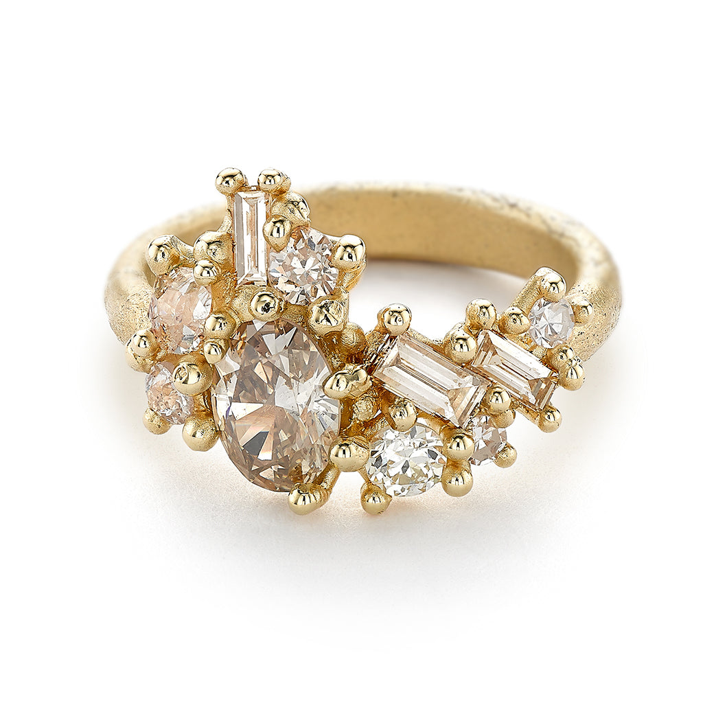 Champagne Diamond Asymmetric Sweeping Cluster Ring from Ruth Tomlinson, handmade in London