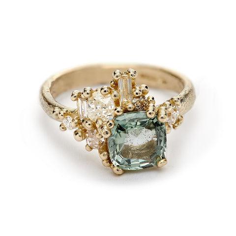 Square Green Sapphire and Diamond Sweeping Cluster Ring From Ruth Tomlinson, handmade in London