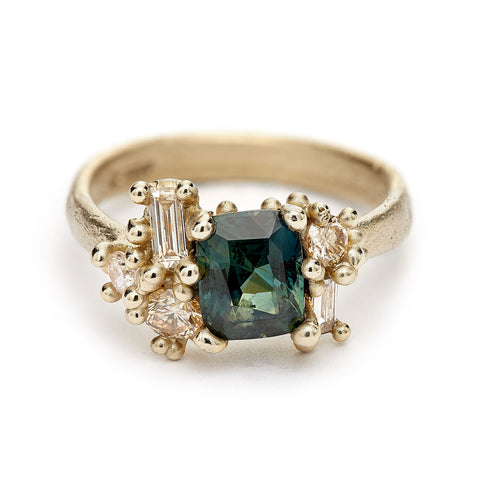 Green Sapphire and Diamond Luminous Cluster Ring from Ruth Tomlinson, handmade in London