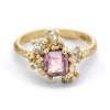 Radiant Cut Pink Sapphire and Diamond Sweeping Cluster Ring from Ruth Tomlinson, handmade in London