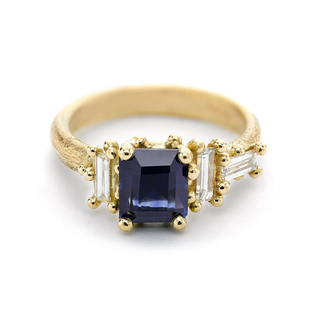 Blue Sapphire and Diamond Luminous Cluster Ring From Ruth Tomlinson, handmade in London