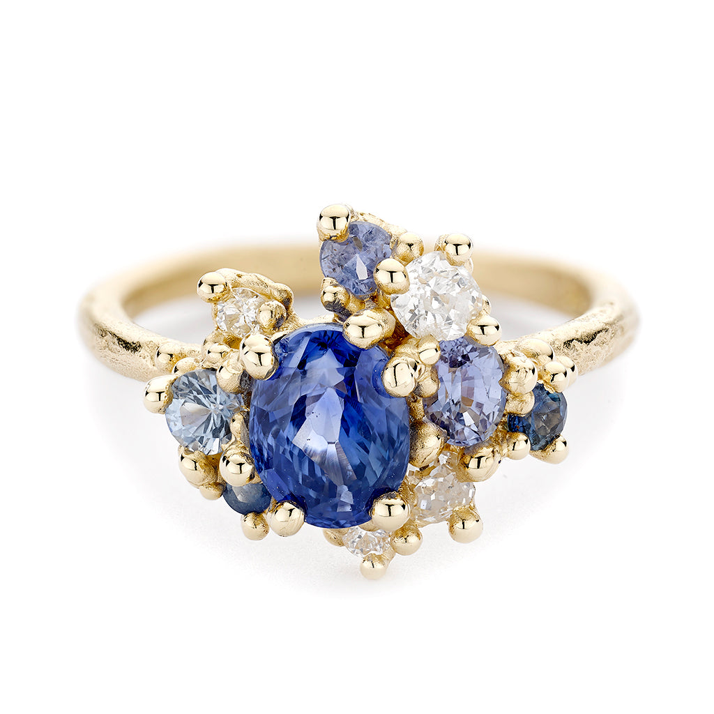 Blue Sapphire and Diamond Sweeping Cluster Ring by Ruth Tomlinson, handmade in London