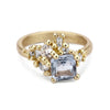 Sapphire and diamond cluster engagement ring from Ruth Tomlinson, handmade in London