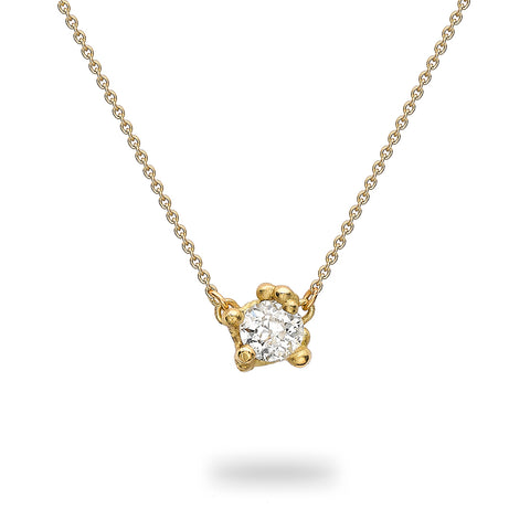 Solitaire diamond pendant in yellow gold by Ruth Tomlinson, handmade in London