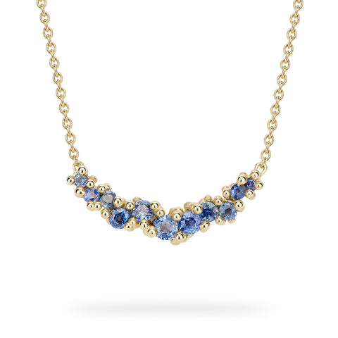 Sapphire Cluster Bar Necklace by Ruth Tomlinson, Handmade in London