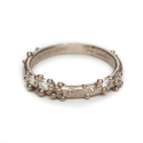 Unique Ruth Tomlinson diamond encrusted wedding band or stacking ring, handmade in London