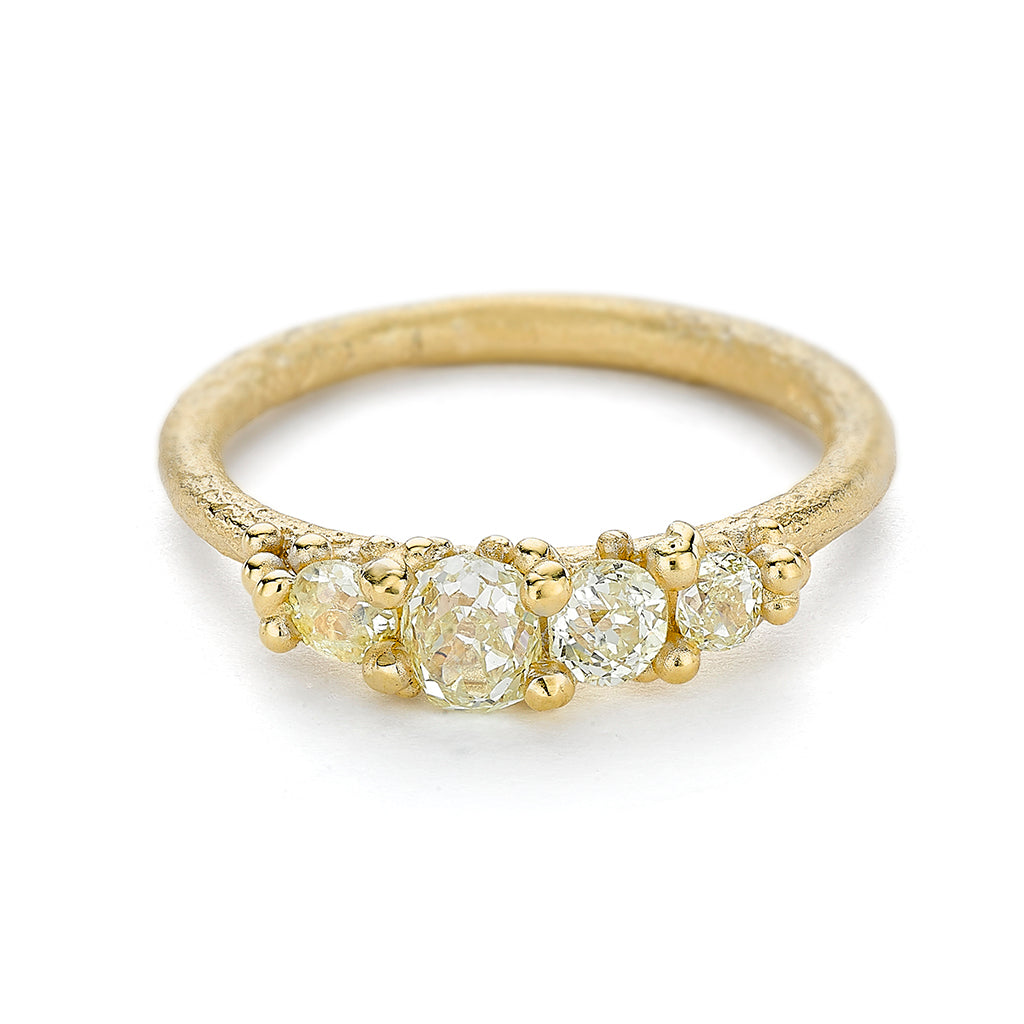 Four stone diamond engagement ring from Ruth Tomlinson, handmade in London