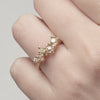 Asymmetric Yellow Diamond Ring with Granules