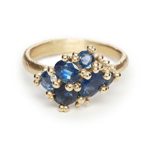 Sapphire Cluster Ring with Diamonds