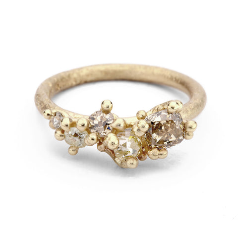 Champagne diamond alternative engagement ring from Ruth Tomlinson, handmade in London