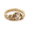 Rose Cut Champagne Diamond Asymmetric Ring Stack
