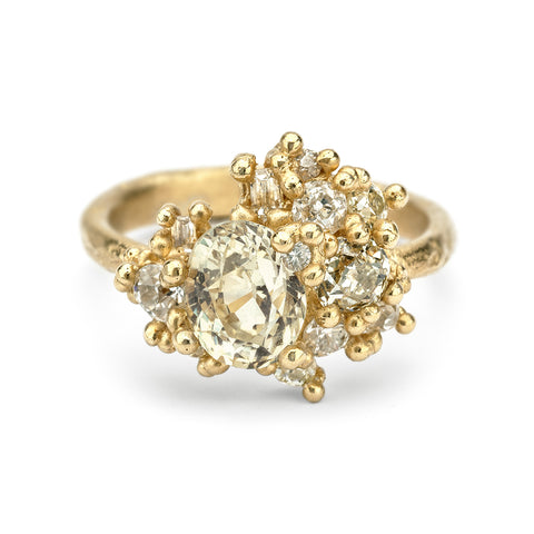 Yellow Sapphire and Diamond Sweeping Cluster Ring
