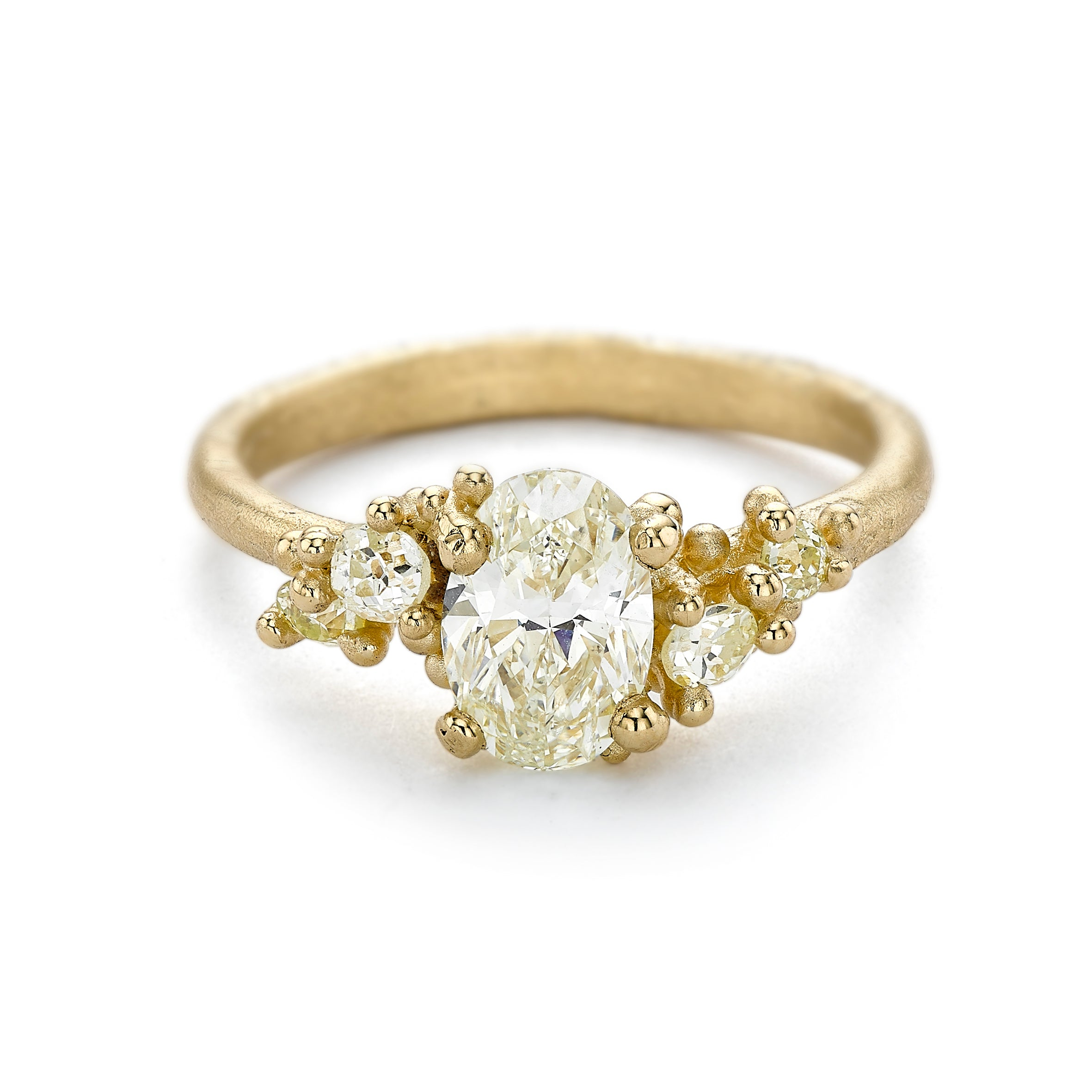 Antique Yellow Diamond Encrusted Ring by Ruth Tomlinson, handcrafted in London