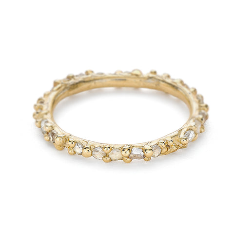 Rose cut diamond eternity band in yellow gold from Ruth Tomlinson, handmade in London